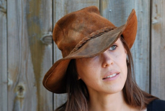 Suede cowboy hat, Minnetonka, distressed, womens or mens, small.