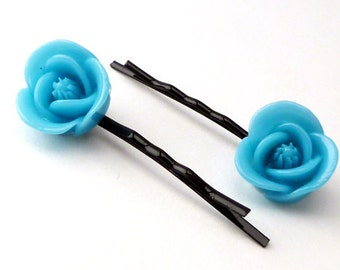 caribbean blue rose bobby pins