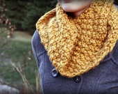 Warm Yellow Gold Winter Hand Knit Cowl