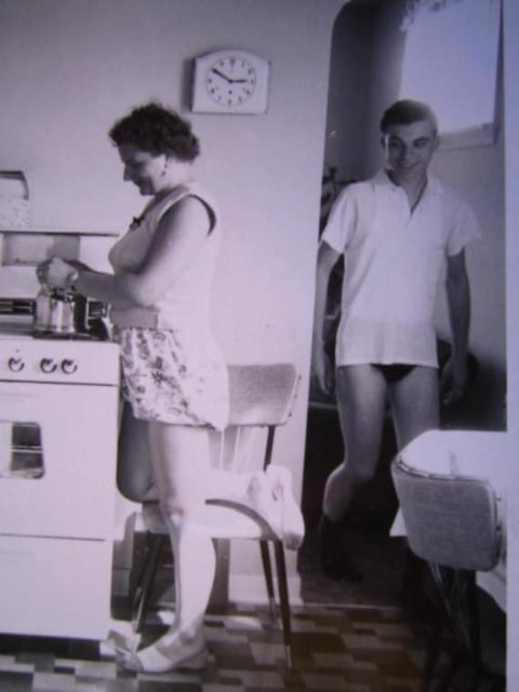 I Didn't Know You Were Up... Fun 1950's Vintage Photo