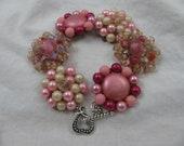 Vintage Earring Bracelet-BE MY LOVE-Repurposed (Pink, Crystal)