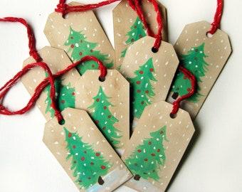Gift Tags Christmas Trees - set of 8