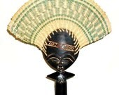 Vintage Tribal African Ashanti Akuaba Doll Fan From Ghana