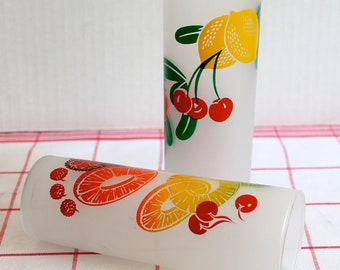Vintage Fruit Frosted Tumblers/ Glasses