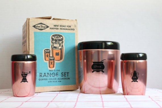 West Bend Copper Aluminum Range Set