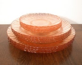 PINK PLATE Pink Depression Glass Dinner Plate - Arcoroc France - Arocoroc Pink