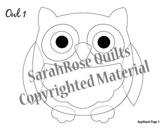 Owl Appliques – PDF for Download