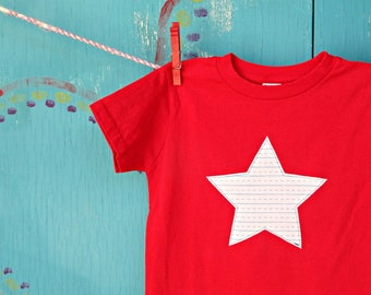 Star Appliqued Red T-shirt, Notebook Paper Fabric, School Handwriting Paper, 5/6, Star Applique, Children's Clothing