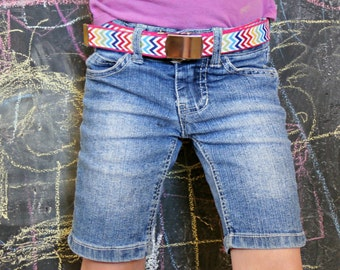 Girl's Rainbow Chevron Webbing Belt with Military-Style Nickel Belt Buckle, Back to School Clothing, Toddler and Youth Sizes Available