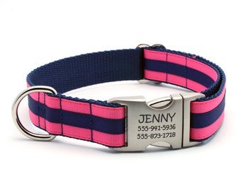 Layered Stripe Laser Engraved Personalized Dog Collar - Hot Pink/Navy