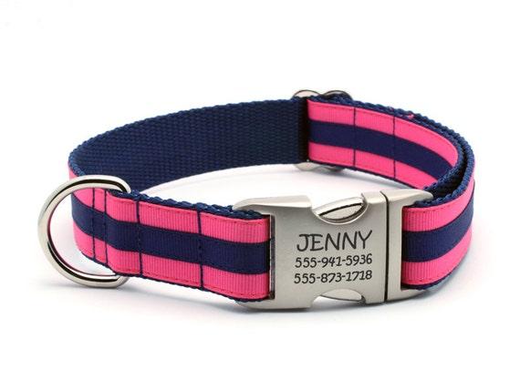 Layered Stripe Laser Engraved Personalized Dog Collar - Hot Pink/Navy