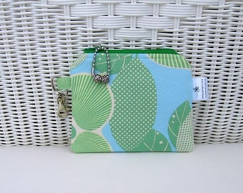 READY-TO-SHIP Large Change Purse / Blue Green Change Purse / Padded Coin Purse