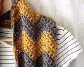 S A L E // Gray Yellow Chevron Infinity Scarf