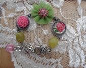 Green and Pink Chiffon Sparkle Bracelet
