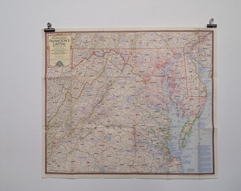 1956 round about the nations capital national geographic wall map with descriptive notes