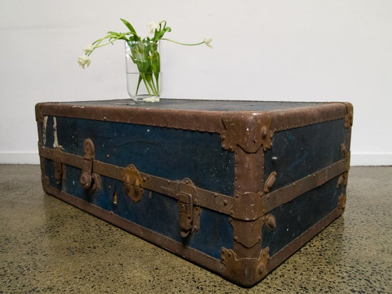 reserved for lauren - vintage navy blue shipping trunk/coffee table