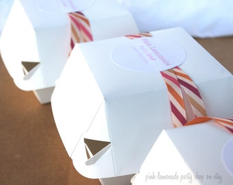 10WHiTe HaMBuRGeR BoXes-10ct--add your own ribbon, labels-twine-4x4x3-favors-gifts-krafts-classroom