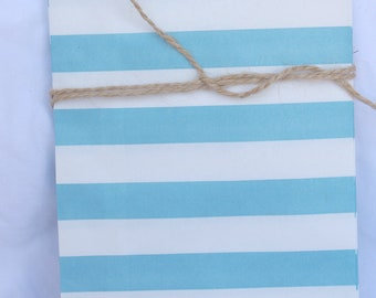 12MeDiUM SiZe STRiPeD PaPER BAGs-- Blue --party favors--gifts---weddings--showers--12ct