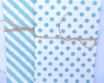 20blue and WHiTe STRiPed BaGs and dot bags--large size--party favors--gifts---weddings--showers--