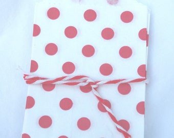 Tiny polka dot BaGs--Red dot--mini size--snacks--candy buffets--party favors--gifts---weddings--showers--20ct-