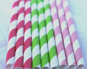STRaWBeRRY SHoRTCaKe Inspired MiX-Paper Straws 25ct-- Pink stripe,red stripe and green stripe with Free Printable Flags