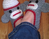 Ladies Sock Monkey Slippers - Pattern - PDF