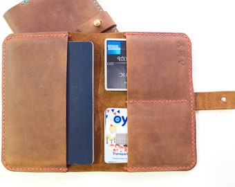 Leather Passport Wallet with card holder - hand stitched.