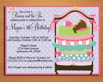 Princess and the Pea Birthday Party Invitation Cards PRINTABLE DIY
