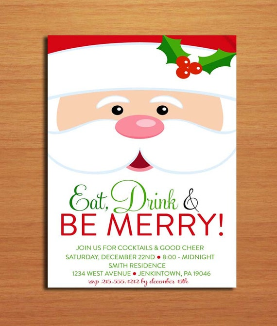 Santa Face / Customized Printable Christmas Party Invitations / DIY