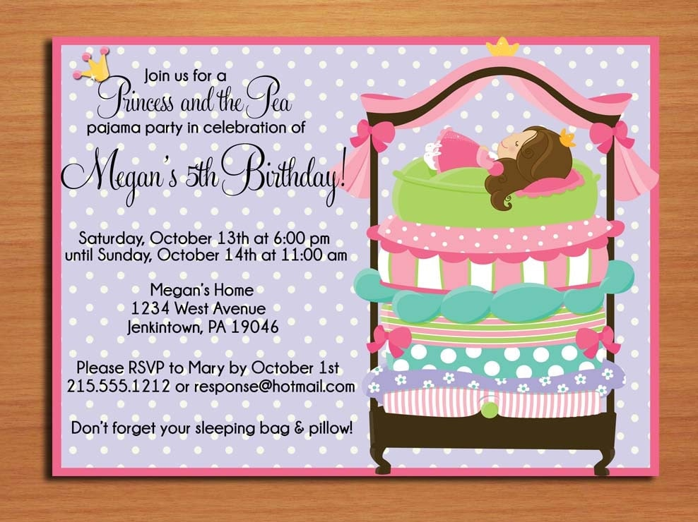 Princess and the Pea Birthday Party Invitation Cards PRINTABLE