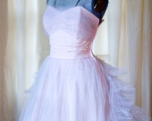 1950's Prom Dress // Pink Pleated Tulle Strapless Party Prom Dress 32 Bust XS