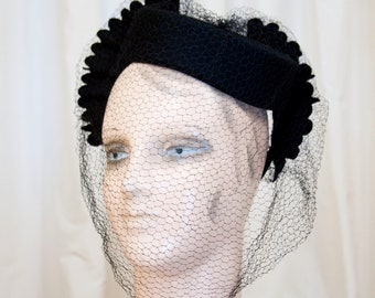 1940s Hat // Winged New York Creation Black Wool Tilt Hat