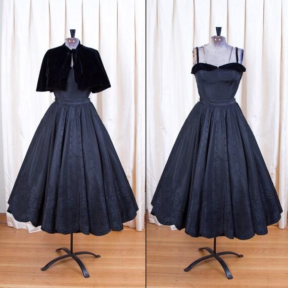 1950's Formal Dress // Midnight in Paris Taffeta Three Piece Ensemble with Cape By Lorrie Deb