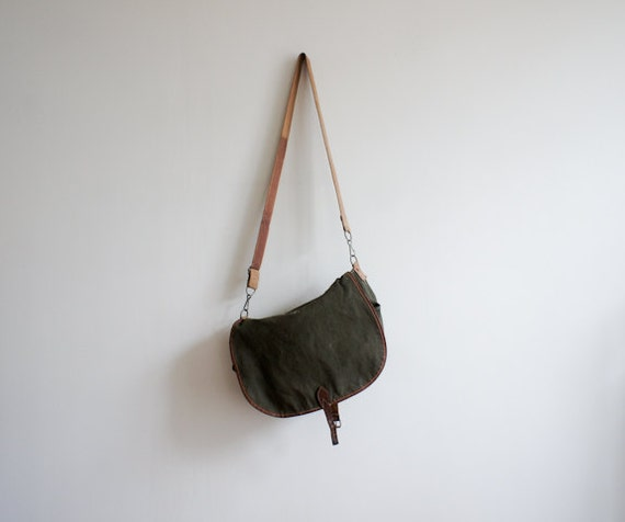 vintage french satchel bag made of canvas and leather, made by Sologne France