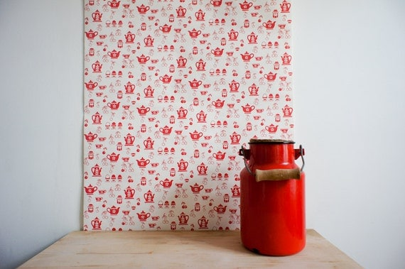1970's french wallpaper with red cherries, teapots and coffee pots, full roll.