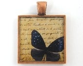 Butterfly Pendant - Brown Navy Blue Copper Insect Collage Resin Nature Jewelry Charm