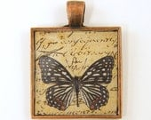 Butterfly Jewelry - Black White Brown Animal Collage Charm Handwriting Square Copper Resin Insect Jewelry
