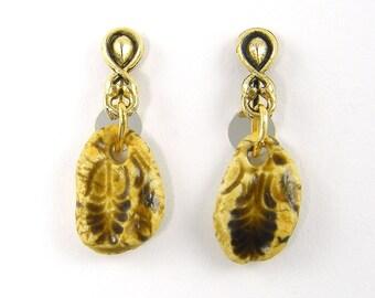Tan Clip on Earrings - Rustic Ceramic Gold Drop Clip Earrings
