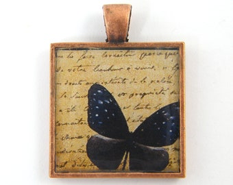 Butterfly Pendant - Brown Navy Blue Copper Insect Pendant Collage Resin Nature Jewelry Pendant Charm