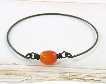 Rust Brown Bangle Bracelet Carnelian Gemstone Brass Wire Stackable Earth Tone Fall Color Stacking Jewelry