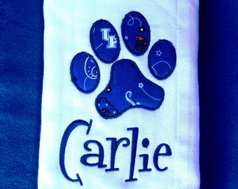Embroidered burp cloth - Kentucky UK Wildcats Blue