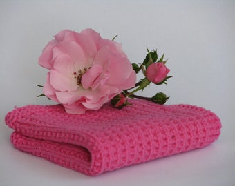 Hand knitted dish cloth wash cloth - soft cotton - pink