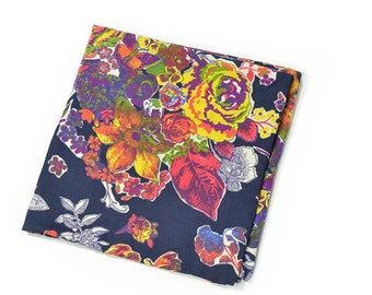 Wedding Mens Pocket Square - Jack Kirby  - Navy Blue, Pink Yellow and Purple Flowers Liberty cotton