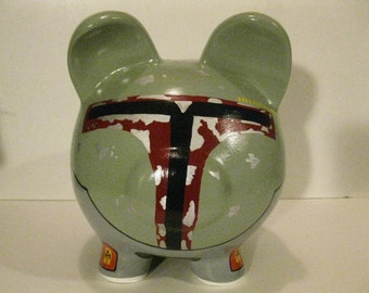 Personalized, Handpainted, Large Boba Fett Piggy Bank - (Inspired by Star Wars) MADE TO ORDER