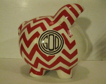 Chevron piggy bank, Personalized, Handpainted, Large,  Patterned Piggy Bank - Color choices for pattern and frame are yours - MADE TO ORDER