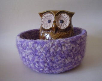 felted wool bowl lilac and cream jewelry holder Eco friendly storage