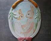 RABBITS  - ORIGINAL Ceramic Painting wall home decor