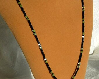 Green and Black beaded Eyeglass Lanyard or necklace