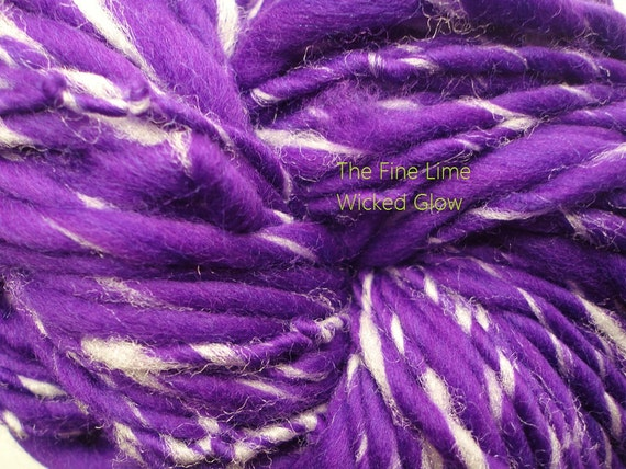 Handspun Glow in the Dark Purple Yarn Merino Wool - Wicked - Hand Dyed Swirl Single