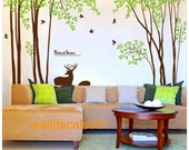 Wall Decals,wall stickers,decal,tree,sticker,room decal,-deer in Forest